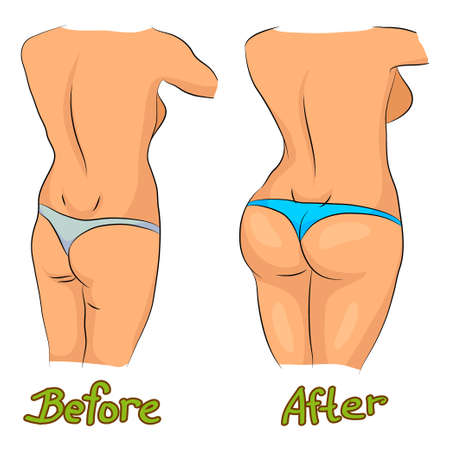 Before and after workout image Vectores