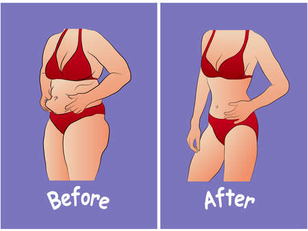 Woman body before and after diet or training Illustration