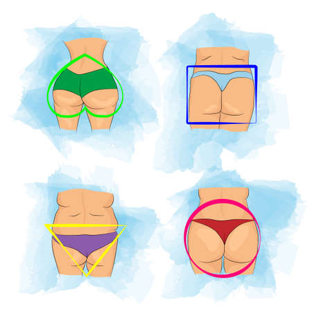 Set of main shapes of buttocks on woman bodies