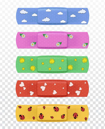 Set of realistic multi-colored medical plasters