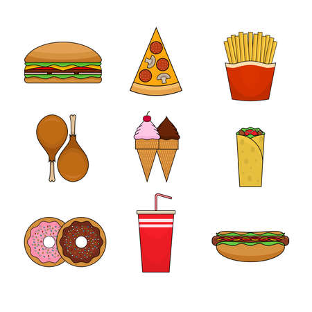 Fast food colorful icons in modern flat design