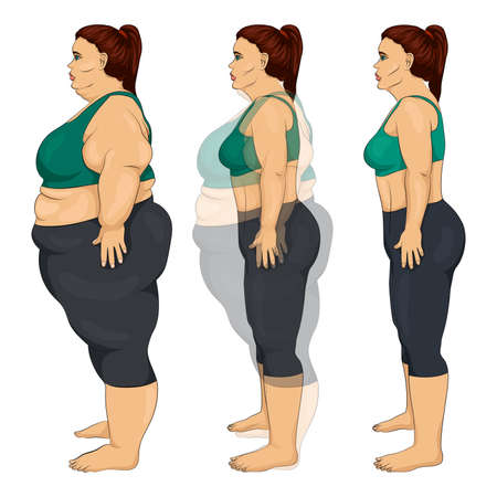 Illustration of the process of losing weight of a woman after training, diet or surgery, comparison of a fat and thin woman