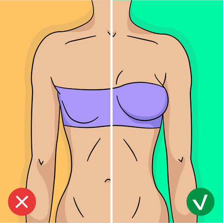 Comparison of woman breast before and after training or surgery in simple modern flat style