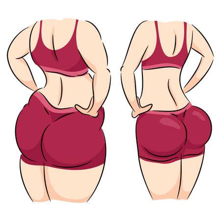 Cartoon illustration of woman slimming