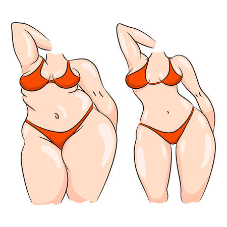 Comparison of a woman body before and after slimming