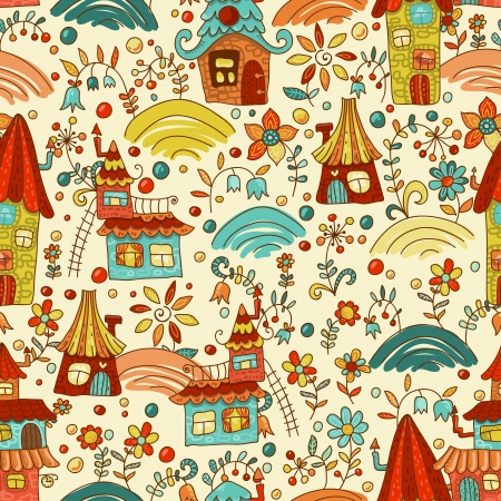 fairyland: Sweet cartoon Fairyland seamless pattern  Amusing and lively endless pattern can be used for wallpaper design, web pags background and  for your other fun ideas Stock Photo