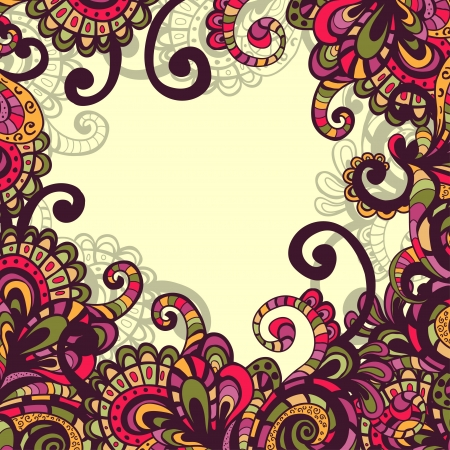gipsy: Hand drawn fantasy motley vector frame with abstract elements and plants  Stock Photo