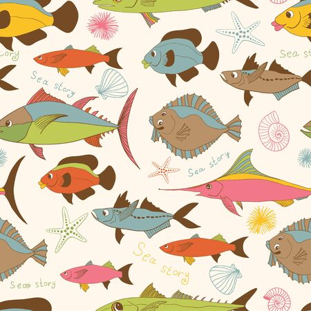 aqueous: Motley stylized hand drawn cartoon fishes  vector seamless pattern