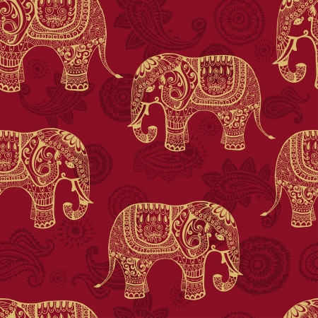 festive pattern: Clear seamless texture with stylized patterned elefants in Indian style  Vector endless background