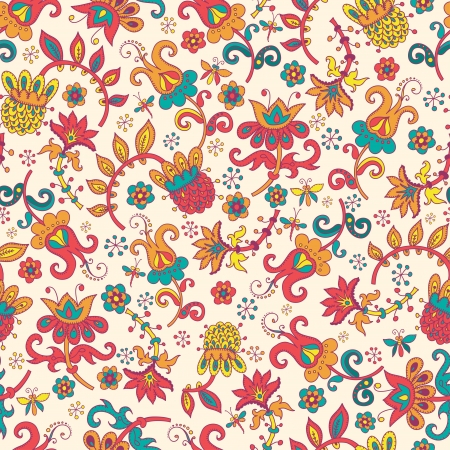 Fantasy  hand drawn flowers vector seamless pattern  Made in clear and cheerful tones photo