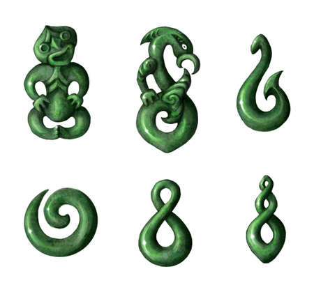 jade: Traditional Maori Symbols Pencil Drawing Isolated on White Stock Photo