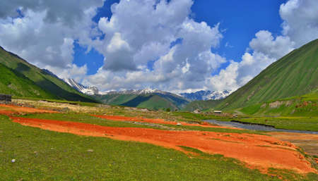 A valley colored with mineral springs, Truso Valley, Georgia. 写真素材