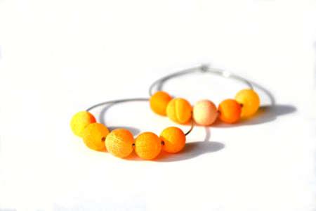 Hoop Earrings with Orange Agate Gemstone, Jewelry.