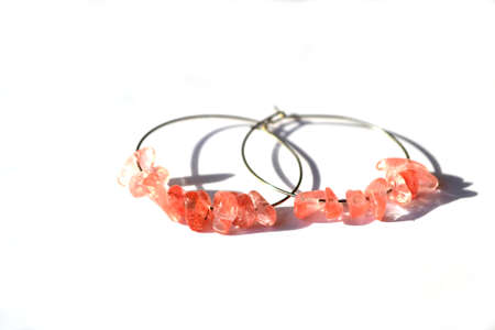 Hoop Earrings with Pink Strawberry Obsidian, Mineral, Jewelry. Stock Photo