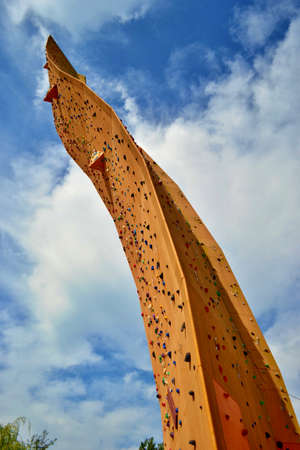 GRONINGEN, HOLLAND - SEPTEMBER 8,2012: Excalibur climbing wall. The tower named after the mythical sword of King Arthur is considered the tallest freestanding climbing wall in the world. Redakční