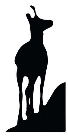 Black silhouette of chamois standing on top of the hill. Isolated on white background. Vector Illustration Keywords: