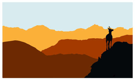 A chamois stands on top of a hill with mountains in the background. Black silhouette. Vector Illustration Keywords: 向量圖像