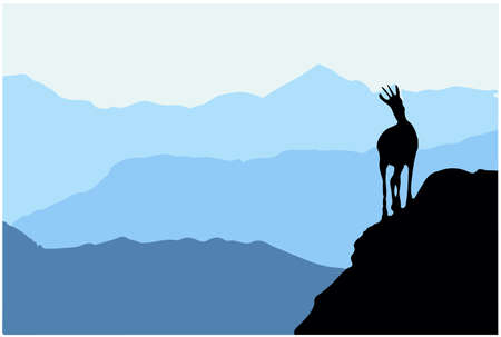 A chamois stands on top of a hill with mountains in the background. Black silhouette. Illustration.