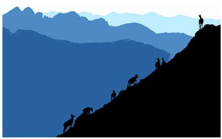 Black silhouettes of Chamois Climbing Uphill, mountains in the background. Illustration. Illustration