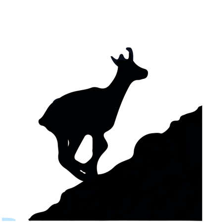 Black silhouette of chamois jumping up the hill. Isolated on white background. Vector Illustration Keywords: