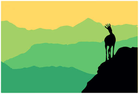 A chamois stands on top of a hill with mountains in the background. Black silhouette with green and yellow background. Illustration. Vecteurs