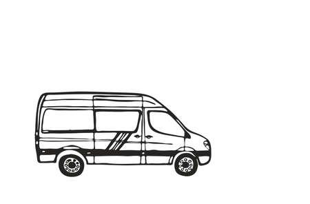 Weißer Lieferwagen mit schwarzem Umriss isoliert auf weißem Hintergrund. Vektor-Illustration. Vektorgrafik