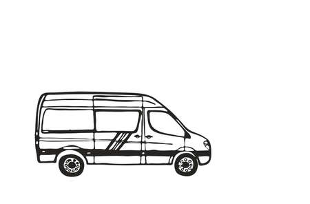 White van with black outline isolated on white background. Vector Illustration.  イラスト・ベクター素材