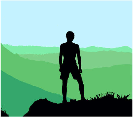 Black silhouette of man standing on top of hill, enjoying beautiful view. Vector Illustration.