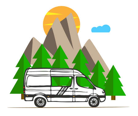 White van with forest and mountains in the background. Living van life, camping in the nature, traveling. Vector Illustration.