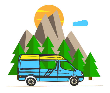 Blue and yellow van with forest and mountains in the background. Living van life, camping in the nature, sitting at fire, traveling. Vector Illustration.