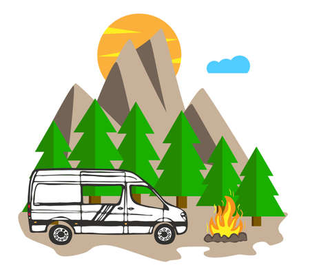 White van with forest and mountains in the background. Living van life, camping in the nature, sitting at fire, traveling. Vector Illustration. Vektorgrafik