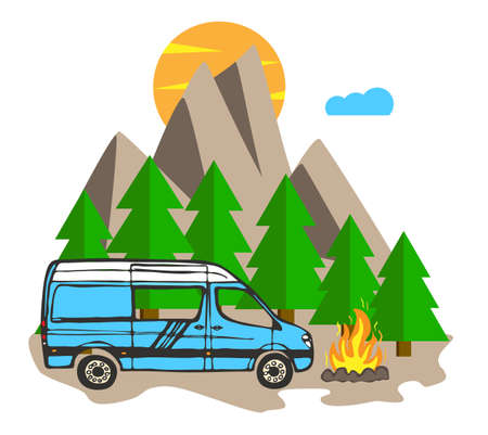 White and blue van with forest and mountains in the background. Living van life, camping in the nature, sitting at fire, traveling. Vector Illustration.