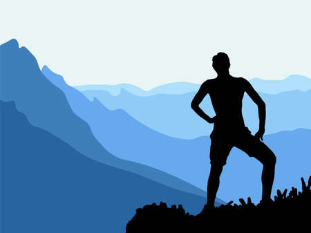 Black silhouette of man posing on the top of the hill, enjoying beautiful view. Vector Illustration.