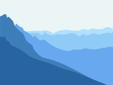 Simple blue mountain background. Silhouette of mountains, minimalist style. Vector Illustration. Vectores