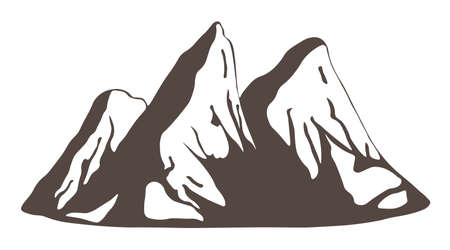 Mountains silhouettes, three sharp peaks isolated on white background. Vector Illustration.