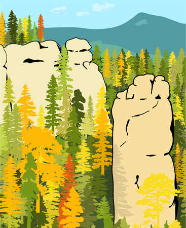 Impressive sandstone rock formation hidden in the autumn woods. Towers enticing climbers. Vector illustration of beautiful nature of Bohemian Paradise, Czech Republic. Ilustração