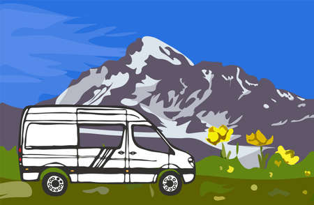 White van with mount Kazbek in the background. Blue sky, grass with yellow flowers. Georgia. Vector Illustration.