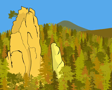Impressive sandstone rock formation hidden in the woods. Towers enticing climbers. Vector illustration of beautiful nature of Bohemian Paradise, Czech Republic.