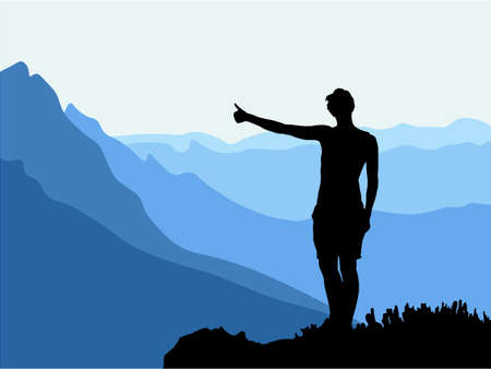 Black silhouette of man standing on the top of the hill, thumb up, enjoying beautiful view. Mountains in the background. Vector illustration.