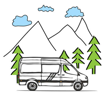 White van with forest and mountains in the background. Living van life, camping in the nature, travelling. Illustration.