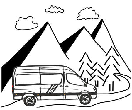 Black and white picture of van with mountains and forest in the background. Vector Illustration. Vektorgrafik