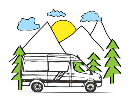 White van with forest and mountains in the background. Living van life, camping in the nature, travelling. Vector Illustration. Vektorgrafik