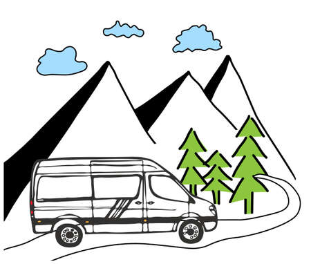 White van with forest and mountains in the background. Living van life, camping in the nature, travelling. Vector Illustration.