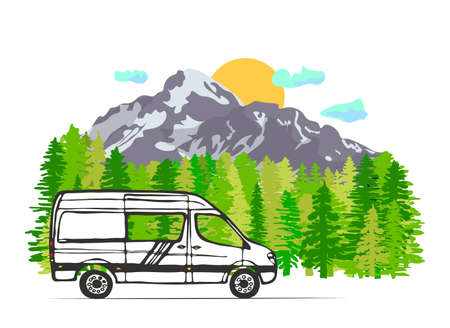 White van with mount Kazbek in the background. Sun with clouds, forest in the background, Georgia. Vector Illustration. Vektorgrafik