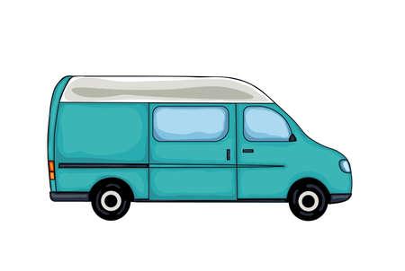 Light blue hand drawn van, isolated on white background. Vector Illustration.