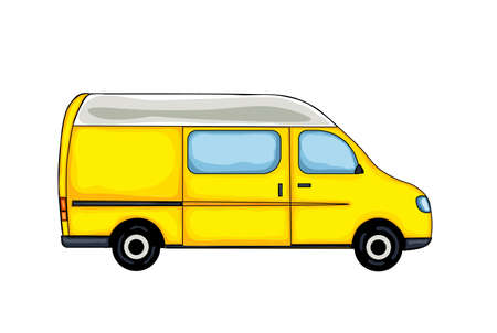 Light yellow hand drawn van, isolated on white background. Vector Illustration.