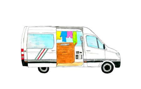 Van life. Hand drawn open white van with furniture inside. Illustration.