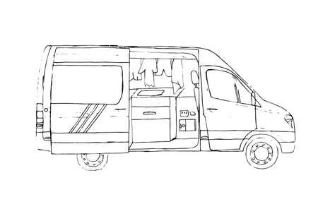 Black and white hand drawn sketch of open living van. Van life. Illustration. Ilustração
