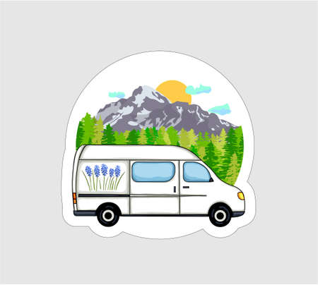 Van Life sticker. White van with forest and mountains in the background. Living van life, camping in the nature, travelling. Vector illustration.