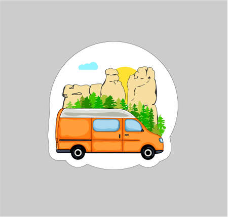 Vanlife Sticker. Orange van with forest and sandstone rock formation in the background. Living van life, camping in nature, travelling concept. Illustration.